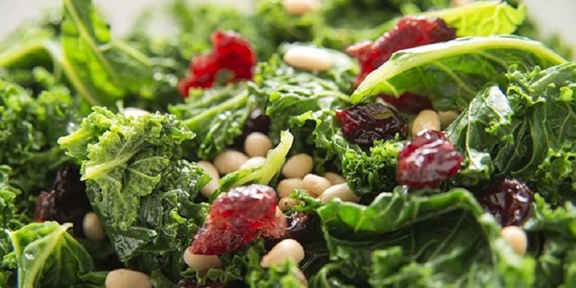Grünkohlsalat mit Cranberrys: die vegetarische Vitamin-C-Bombe